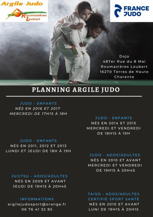 Planning Argile Judo 2021-2022