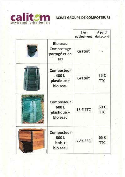 Calitom composts tarifs